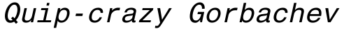 Helvetica Monospaced Paneuropean Italic sample