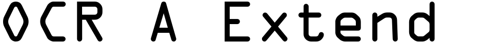 Click to view  OCR A Extended font, character set and sample text