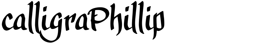 Click to view  calligraPhillip font, character set and sample text