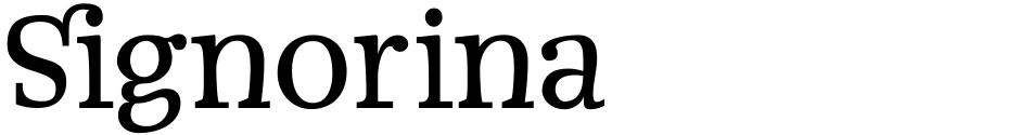 Click to view  Signorina font, character set and sample text
