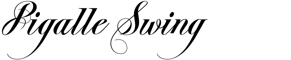 Click to view  Pigalle Swing font, character set and sample text