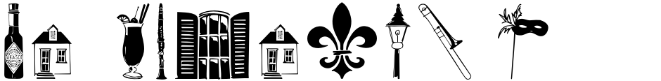 Click to view  New Orleans Doodles font, character set and sample text