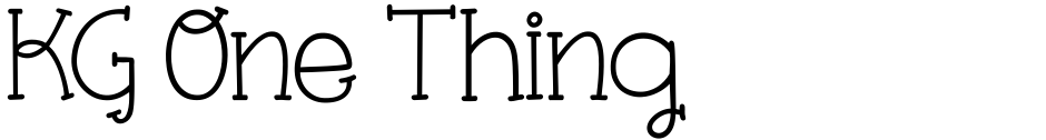 Click to view  KG One Thing font, character set and sample text