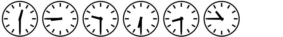 Click to view  Clocktime font, character set and sample text