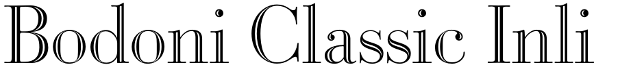 Click to view  Bodoni Classic Inline font, character set and sample text