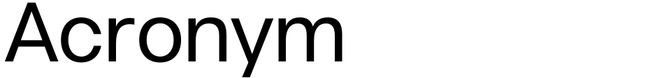 Click to view  Acronym font, character set and sample text