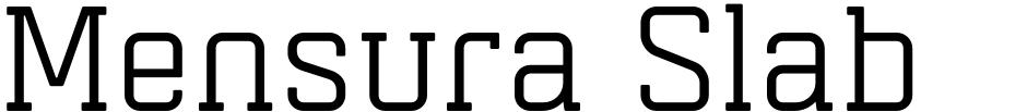 Click to view  Mensura Slab font, character set and sample text