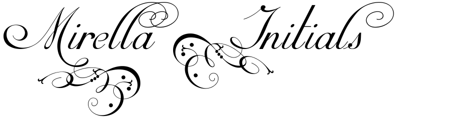 Click to view  Mirella Initials Ornamentals font, character set and sample text
