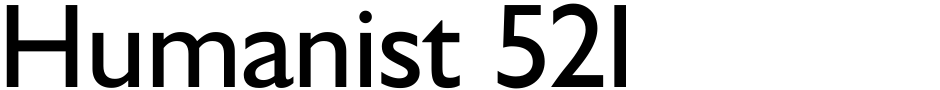 Click to view  Humanist 521 font, character set and sample text