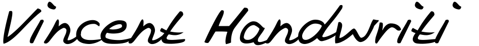 Click to view  Vincent Handwriting font, character set and sample text