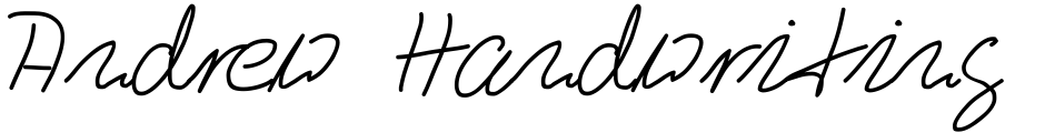 Click to view  Andrew Handwriting Pro font, character set and sample text