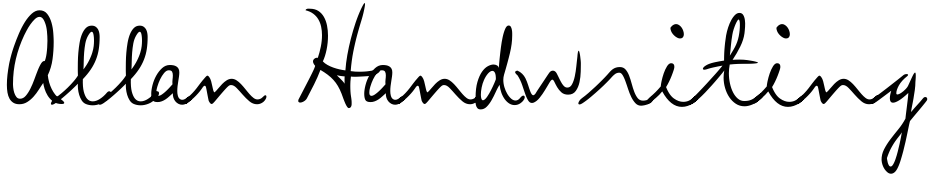 Click to view  Allan Handwriting font, character set and sample text