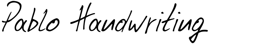 Click to view  Pablo Handwriting font, character set and sample text