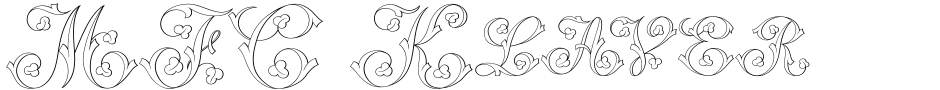 Click to view  MFC Klaver Monogram font, character set and sample text