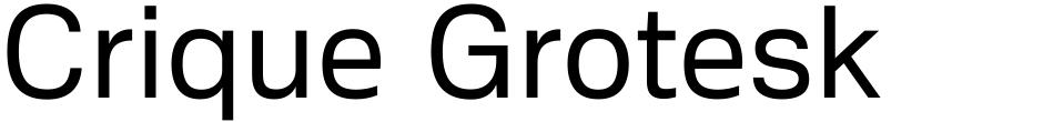 Click to view  Crique Grotesk font, character set and sample text