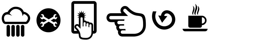 Click to view  Soul Material Design Dingbatz font, character set and sample text