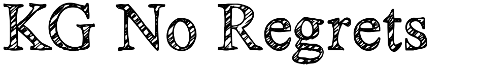 Click to view  KG No Regrets font, character set and sample text