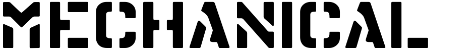 Click to view  Mechanical Stencil JNL font, character set and sample text