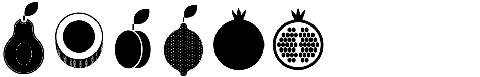 Click to view  Fruits font, character set and sample text