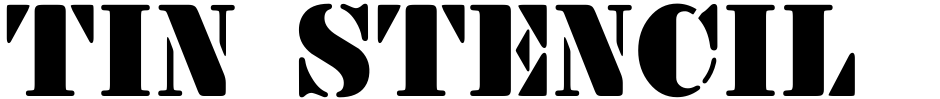 Click to view  Tin Stencil JNL font, character set and sample text