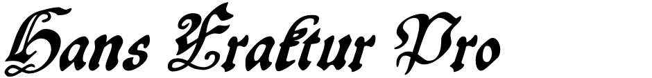 Click to view  Hans Fraktur Pro font, character set and sample text