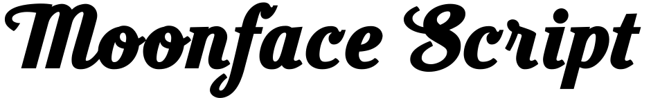 Click to view  Moonface Script font, character set and sample text