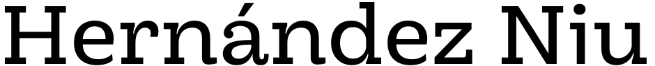 Click to view  Hernández Niu font, character set and sample text