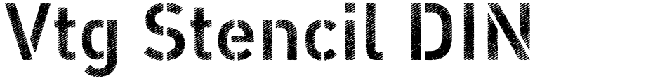 Click to view  Vtg Stencil DIN font, character set and sample text