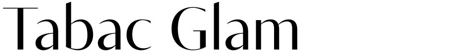 Click to view  Tabac Glam font, character set and sample text