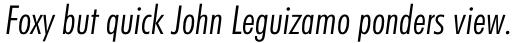 Futura BT Pro Condensed Light Italic sample