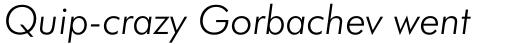 Futura BT Pro Light Italic sample