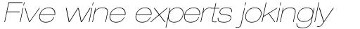 Neue Helvetica Pro 23 Extended Ultra Light Oblique sample