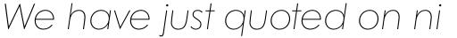 Century Gothic W1G Thin Italic sample