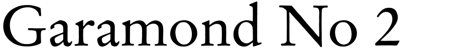 Click to view  Garamond No 2 font, character set and sample text