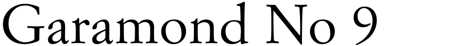 Click to view  Garamond No 9 font, character set and sample text