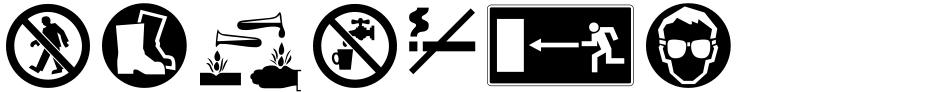 Click to view  EF Warning Pi font, character set and sample text