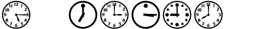 Click to view  TimeClocks font, character set and sample text