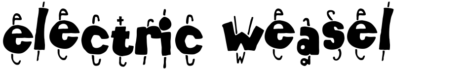 Click to view  Electric Weasel font, character set and sample text