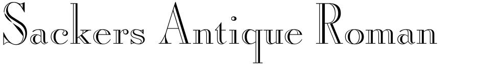 Click to view  Sackers Antique Roman font, character set and sample text