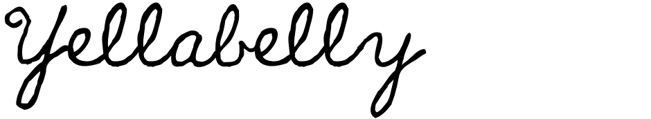 Click to view  Yellabelly font, character set and sample text