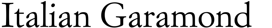 Click to view  Italian Garamond font, character set and sample text
