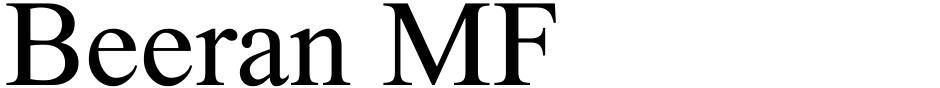 Click to view  Beeran MF font, character set and sample text