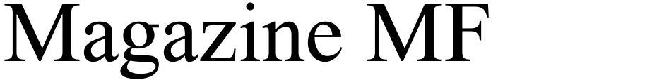 Click to view  Magazine MF font, character set and sample text