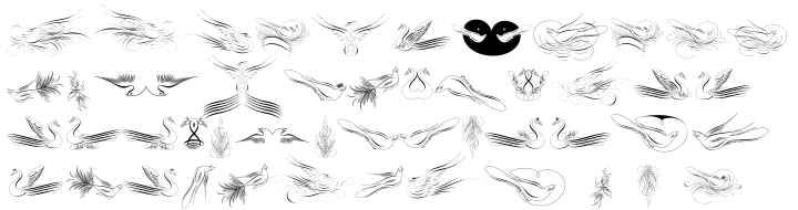 Calligraphic Birds Font Sample