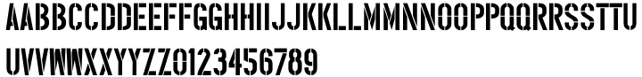 Narrow Stencil JNL Font Sample