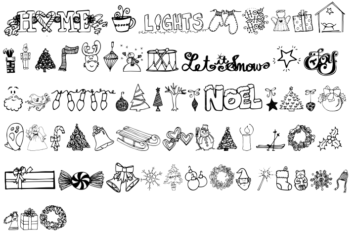Janda Christmas Doodles Font Sample