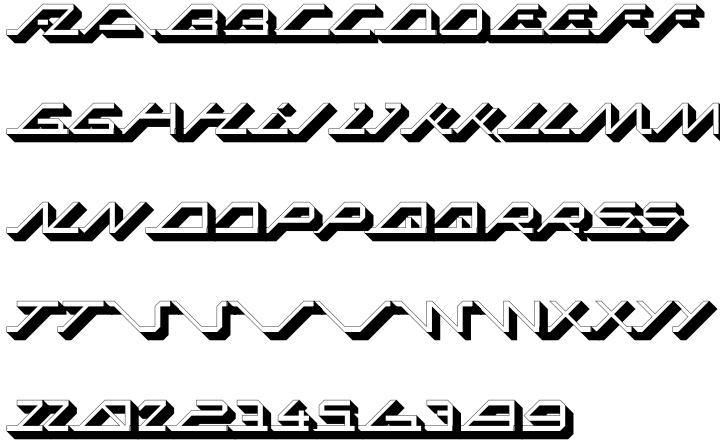 MEGA SLANT LINE Font Sample