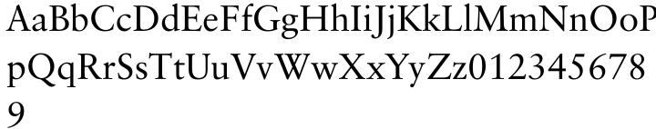 Classical Garamond Font Sample