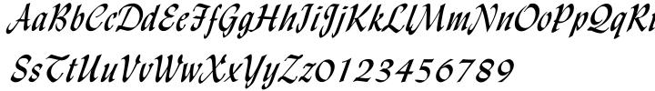 Lydian Cursive Font Sample