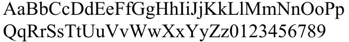 Times New Roman® Font Sample